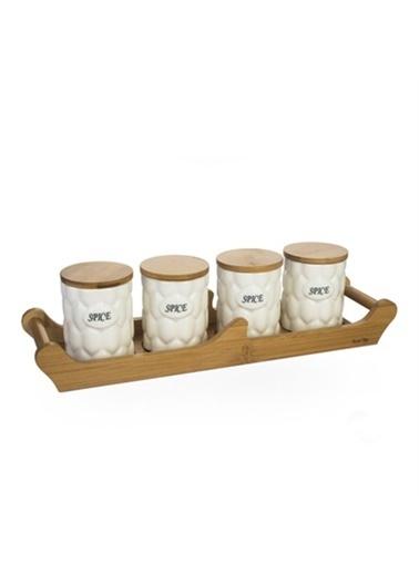 Acar Acar PORJ-8887/12 Bambu Standlı 4lü Porselen Kavanoz Seti Renkli